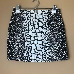 J. Crew Python Print Mini Skirt- Black & White 955